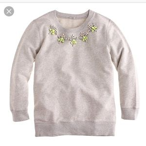 J. Crew gray jeweled sweatshirt